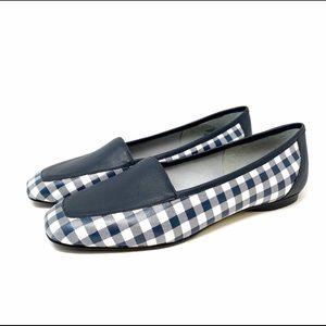 donald J Pleiner Deedee navy gingham flats loafers